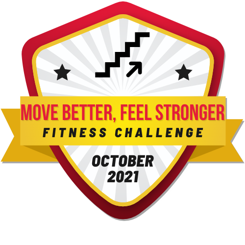 """""""Move better, Feel stronger Fitness challenge"""" written on silver plaque graphic"""